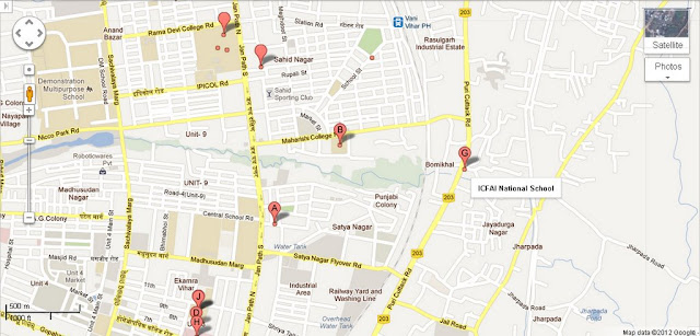 ICFAI National School Bhubaneswar Area Map