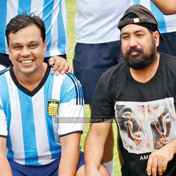 Mayur Garg and Tinku Sial during a football match between Germany XI and Argentina XI in Lucknow.