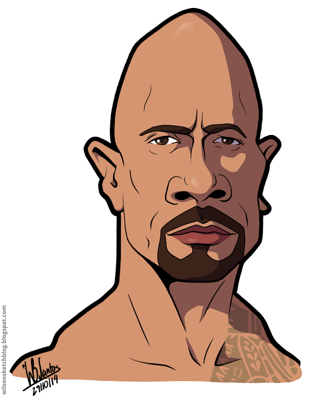 Cartoon caricature of Dwayne Johnson - The Rock.