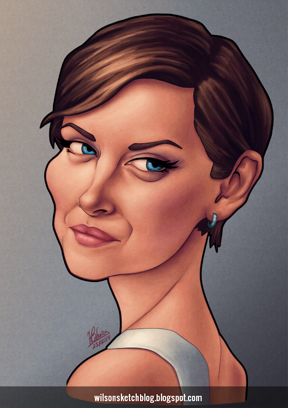 Caricature of Jessica Stroup.