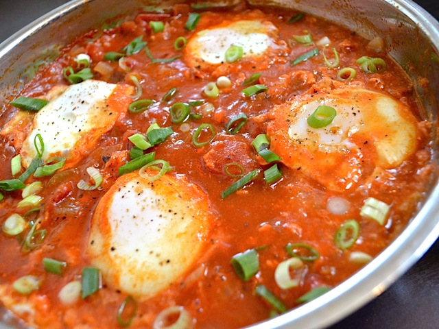 salsa poached eggs with grits