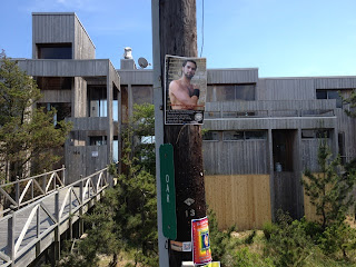 Photographic evidence of Boy Butter guerilla marketing on Fire Island Pines