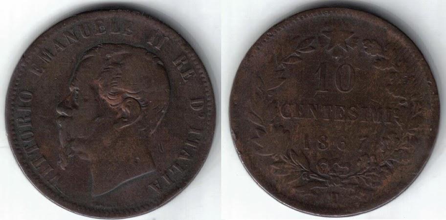 Mi colección de monedas italianas. 10%20centesimi%201867%20T