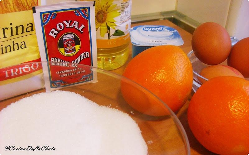 Ingredientes del bizcocho de Naranja de Cocina de La Chata