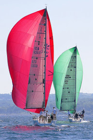 J/111 one-design sailboats- sailing downwind Harbor Springs