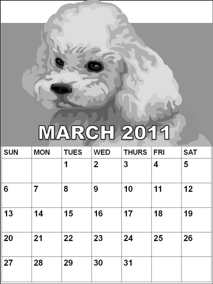 monthly calendar 2011 march. cartoons Calendar 2011