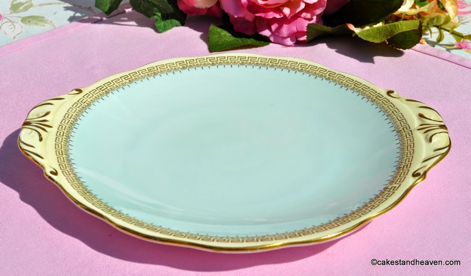Queen Anne duck egg blue and cream cake plate