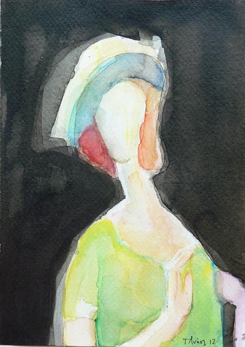 Teresa Muñoz,Pintora,Teresa Muñoz Pintora,Pintura,Pinturas de Teresa Muñoz,Teresa Muñoz pintura a la acuarela,Modigliani apropiacionismo pictórico