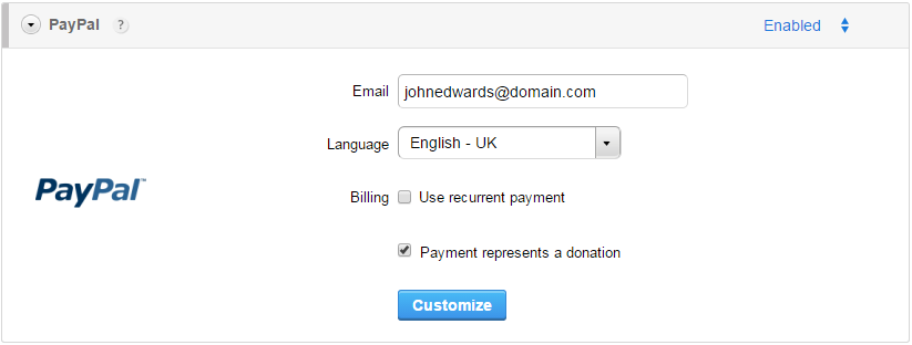 PayPal donation forms