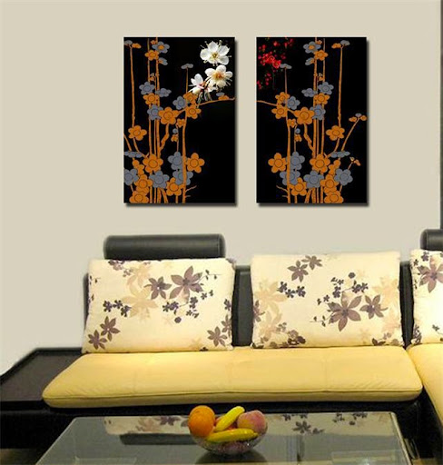 black background apricot blossom wall art Canvas Prints