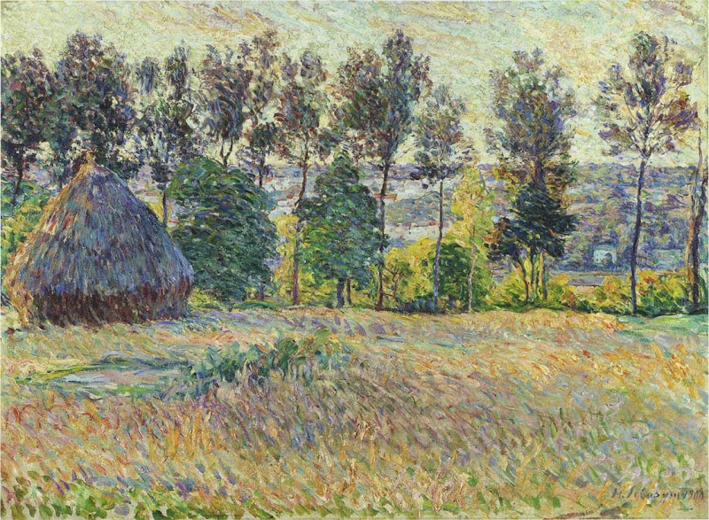 Henri Lebasque - Landscape with haystack-1900