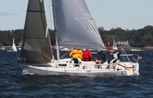 J/80 one-design sailboat- sailing fast on Long Island Sound