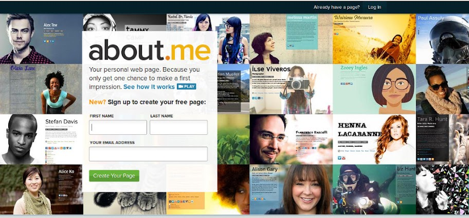 About.me homepage
