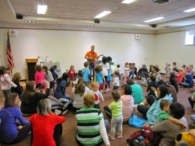 Matt Heaton and a singalong at the watertown library. From Road Trip 101: Kids Music - Matt Heaton's Happy You Made It!