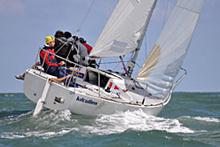 J/24 sailing upwind in Ireland