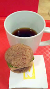 Nodoguro's McDonalds theme for November 2014, a play on fast food: Hamburger snack (manju) with Drive Thru Coffee