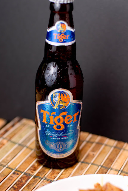 A bottle of tiger beer on a table