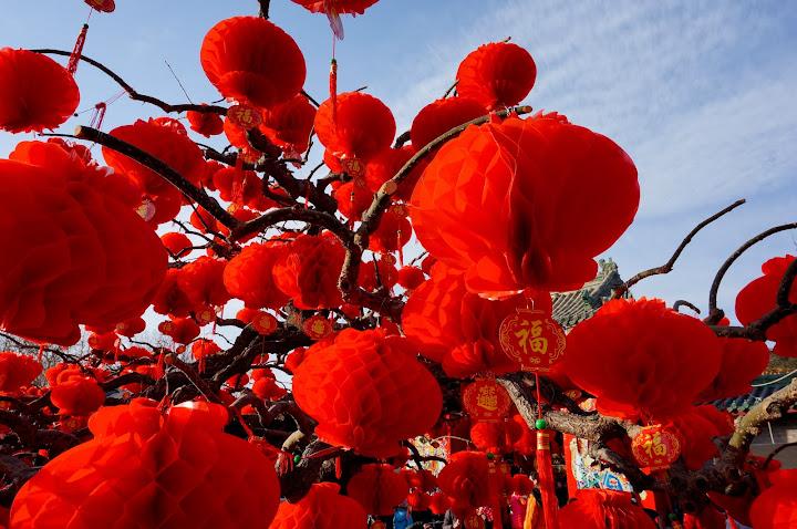farolillos rojos en una feria de Beijing