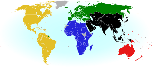 World map showing the five continental associations of National Olympic Committees, including all nations eligible for the Olympic games