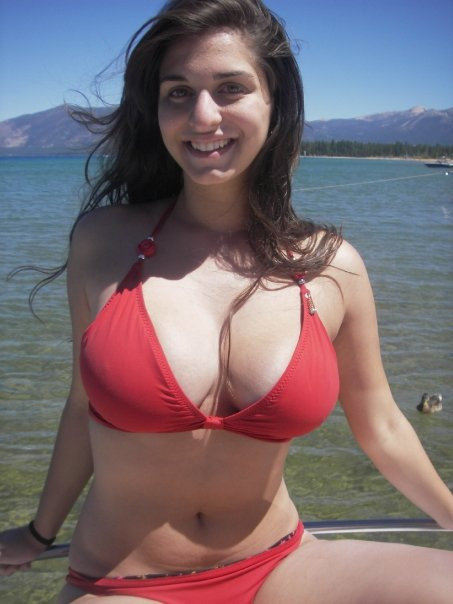 Stacked Amateur Girlfriend in a Sexy Red Bikini:boob,girl,big girl,bikini girl,sex,big breasts0