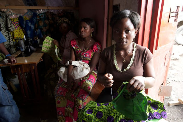women at sewing class