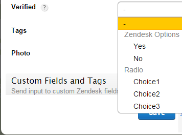 123FormBuilder Zendesk choice fields associations
