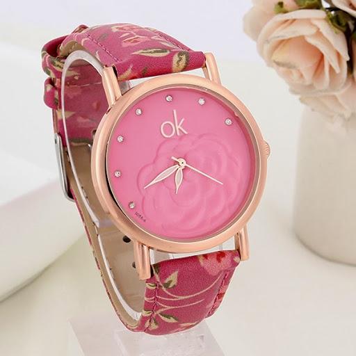 Fashion ok Women Dress Watches Multicolor flower leathe