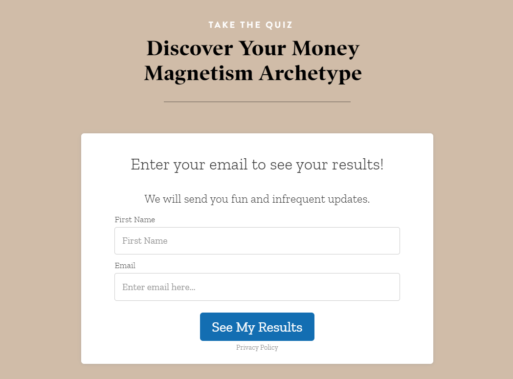 money magnetism archetype opt-in form