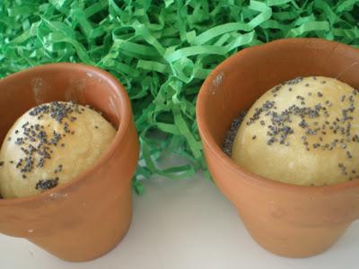 mini rolls baked in mini terra cotta pots