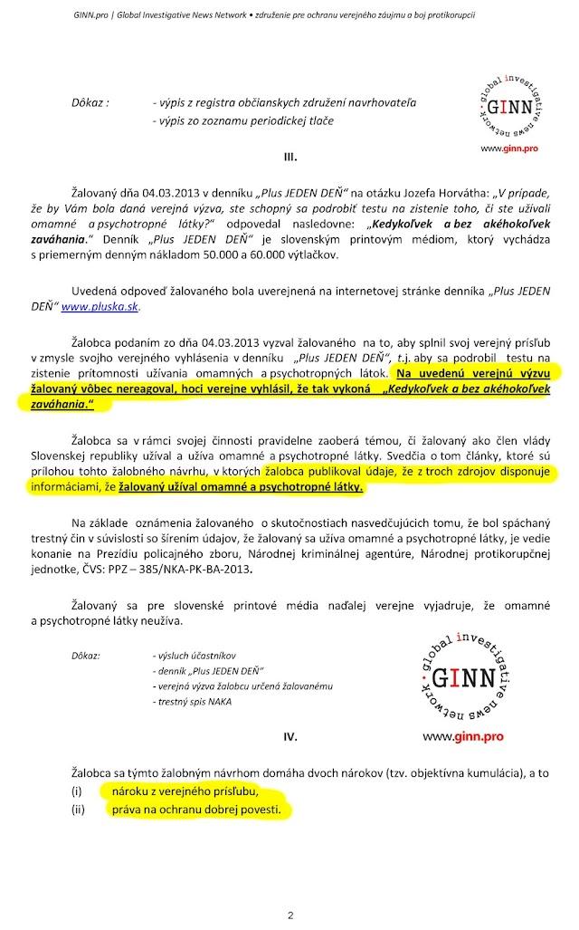 Zaloba GINN proti Ján Počiatek, 2. strana