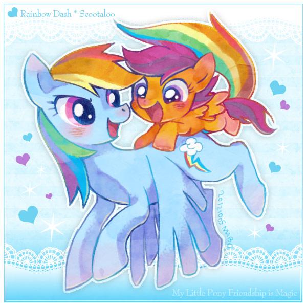 Scootaloo Rainbow Dash Clop Rainbow Dash And Scootaloo