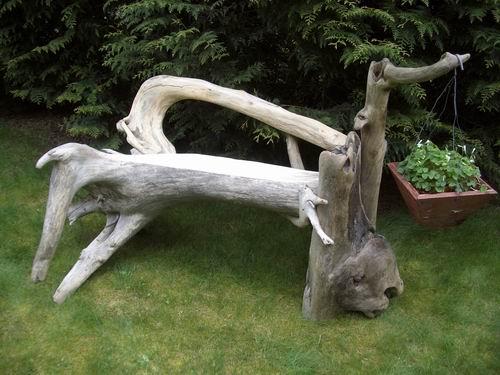 garden world driftwood bench