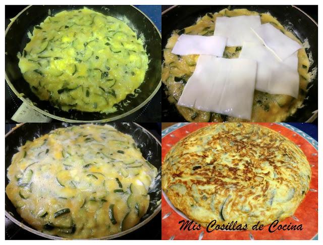 Tortilla de cebolla y calabacín rellena de queso