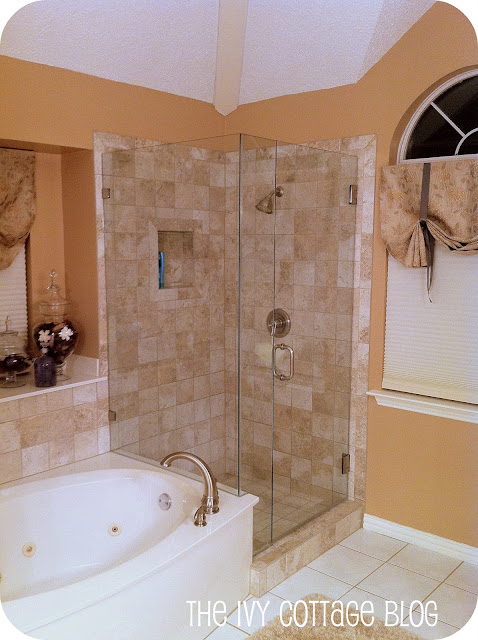 Elegant New tile purchased from Home Depot for cents per tile and frameless glass enclosure our big splurge that took us a while to up for