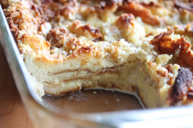 close-up photo of a bread pudding in a baking dish