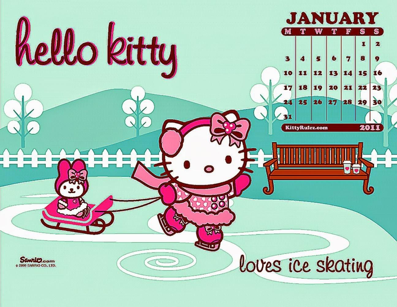 Hello Kitty Printable Calendar December 2014