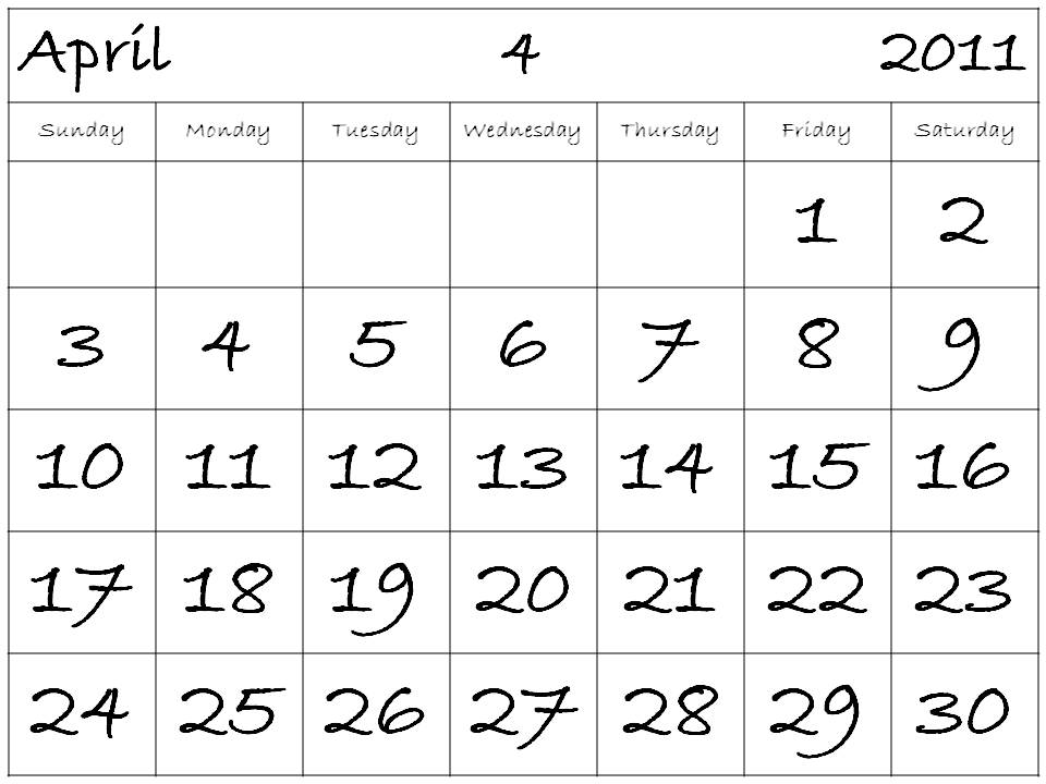 printable monthly calendar april 2011. 2011 Calendar April; printable