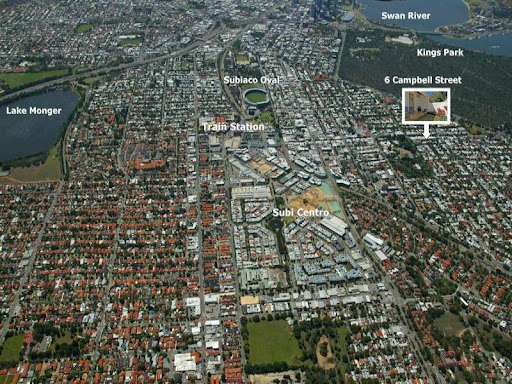 Subiaco aerial view looking East down Cambridge Street, parallel to Hay Street on the right,  Perth City Centre is at top right to the left of the Swan River