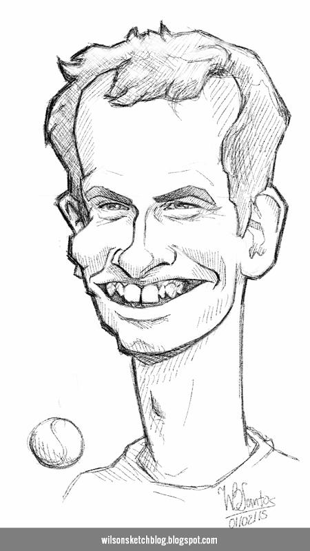 Caricature sketch of Andy Murray.