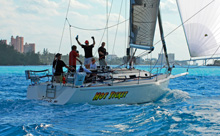 J/120 sailing into Nassau Harbor, Bahamas