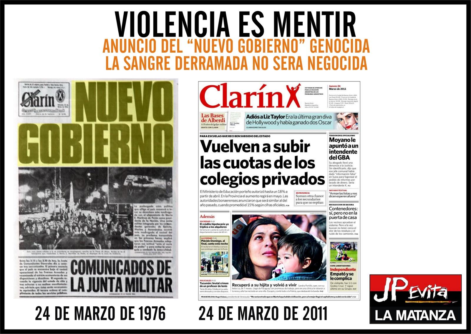 violencia es mentir 24 de marzo 1976 2011 jp evita la matanza. Black Bedroom Furniture Sets. Home Design Ideas