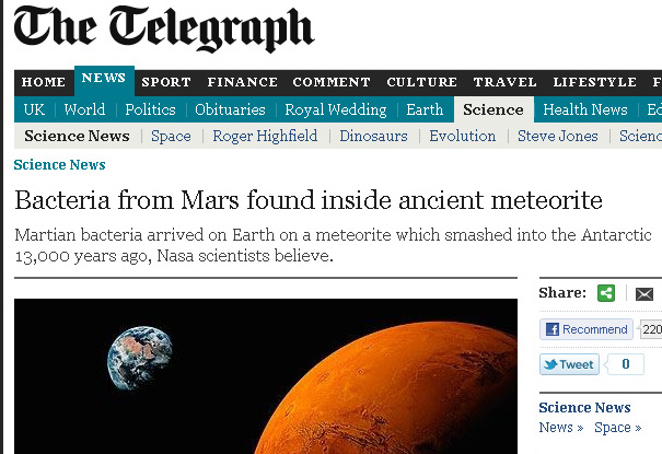 NASA scientist claims conclusive proof of life that is extraterrestrial