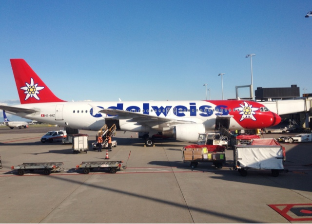 Picture of Edelweiss Air Airbus A320 at the gate in Amsterdam Schiphol Airport, Holland.