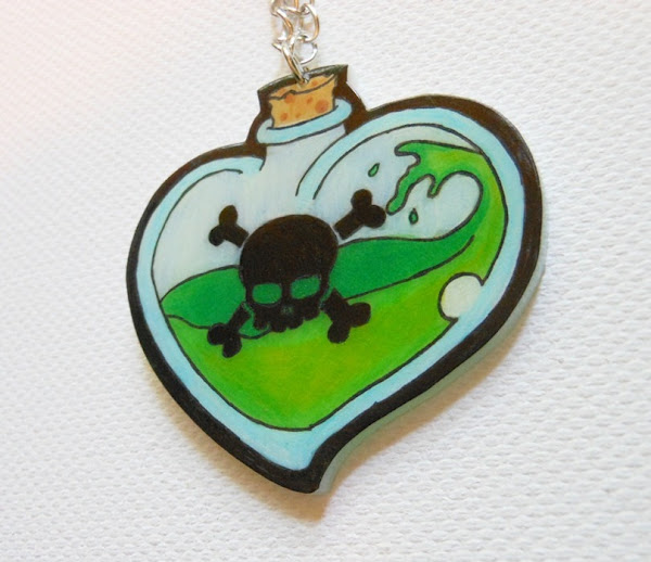 Heart Shaped Poison Bottle Necklace by Donna the Dead