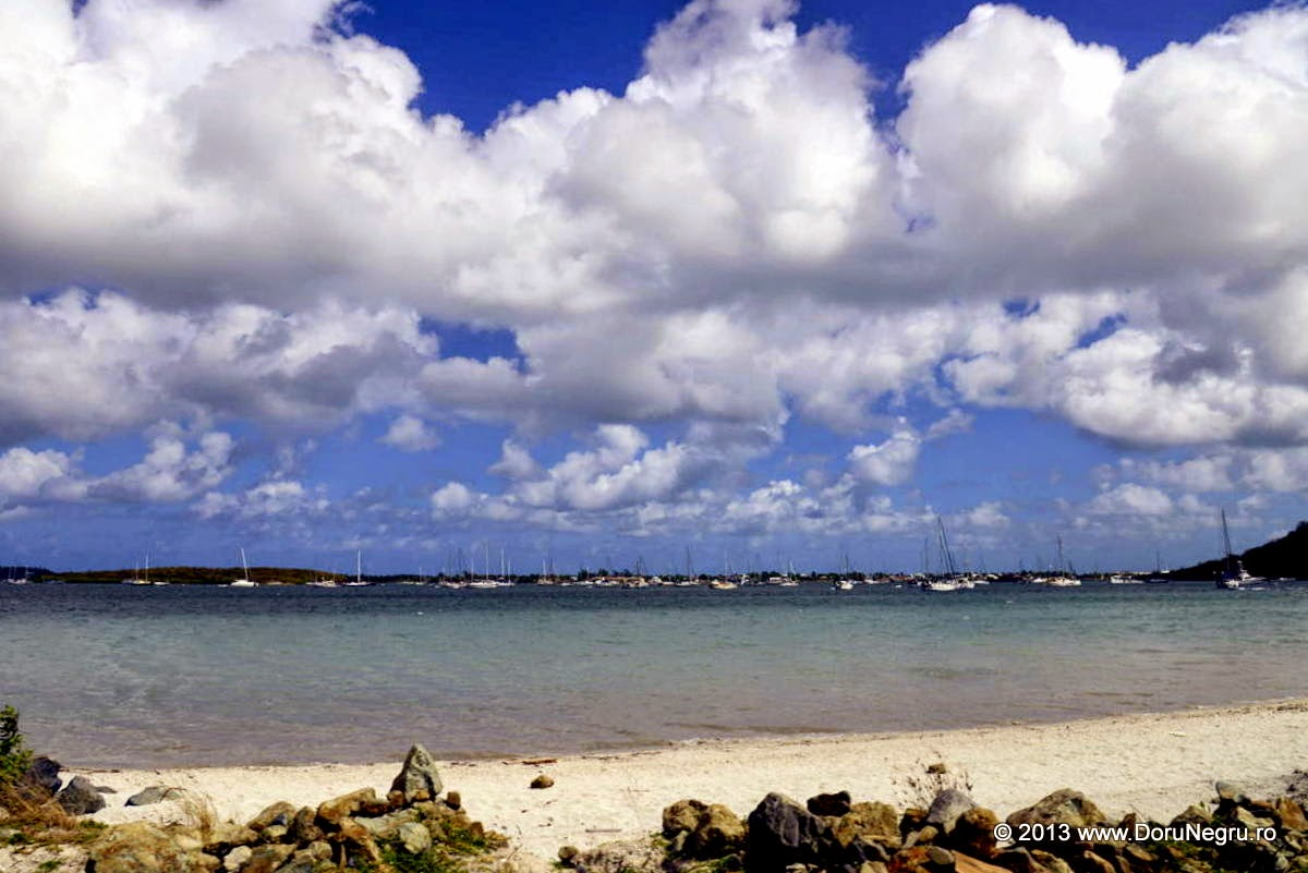 Beach and puffy clouds, St. Maarten, in the Dutch Antilles