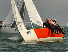 J/24 one-design sailboat- sailing at St Pete NOOD Regatta