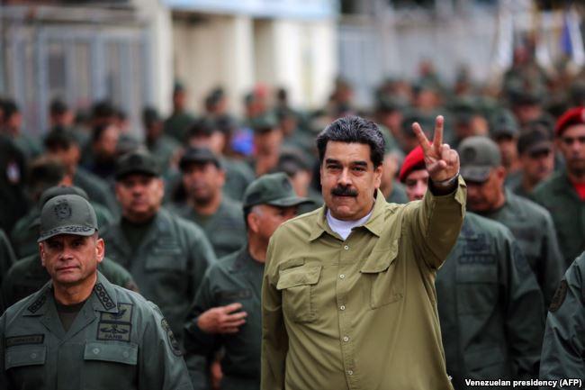Николас Мадуро на митинге с венесуэльскими военнослужащими на военной базе в Каракасе 30 января 2019 года