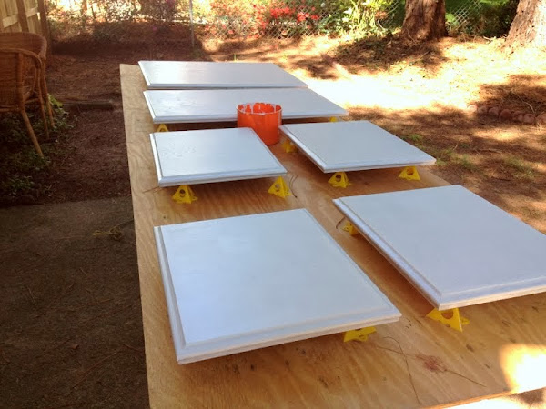 painting cabinet doors outside