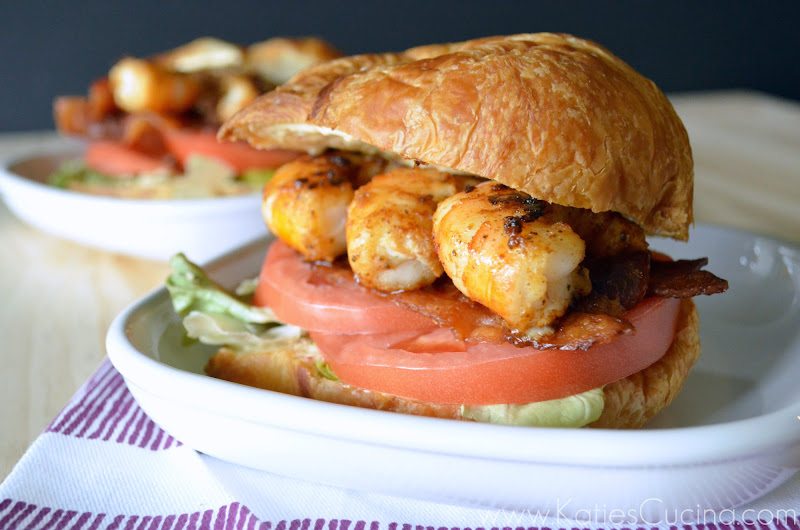 Shrimp BLT Croissant Sandwich from KatiesCucina.com