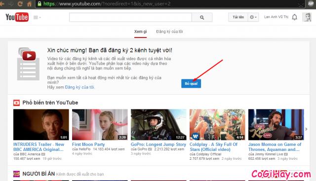 đăng ký cài đặt YouTube thành công